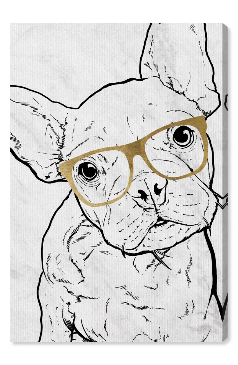 OLIVER GAL Frenchie with Gold Glasses Canvas Wall Art, Main, color, GREY WHITE