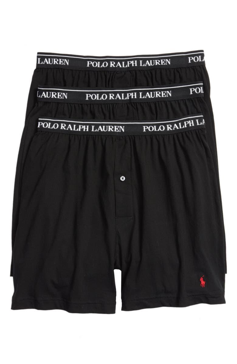 POLO RALPH LAUREN 3-Pack Cotton Boxers, Main, color, POLO BLACK