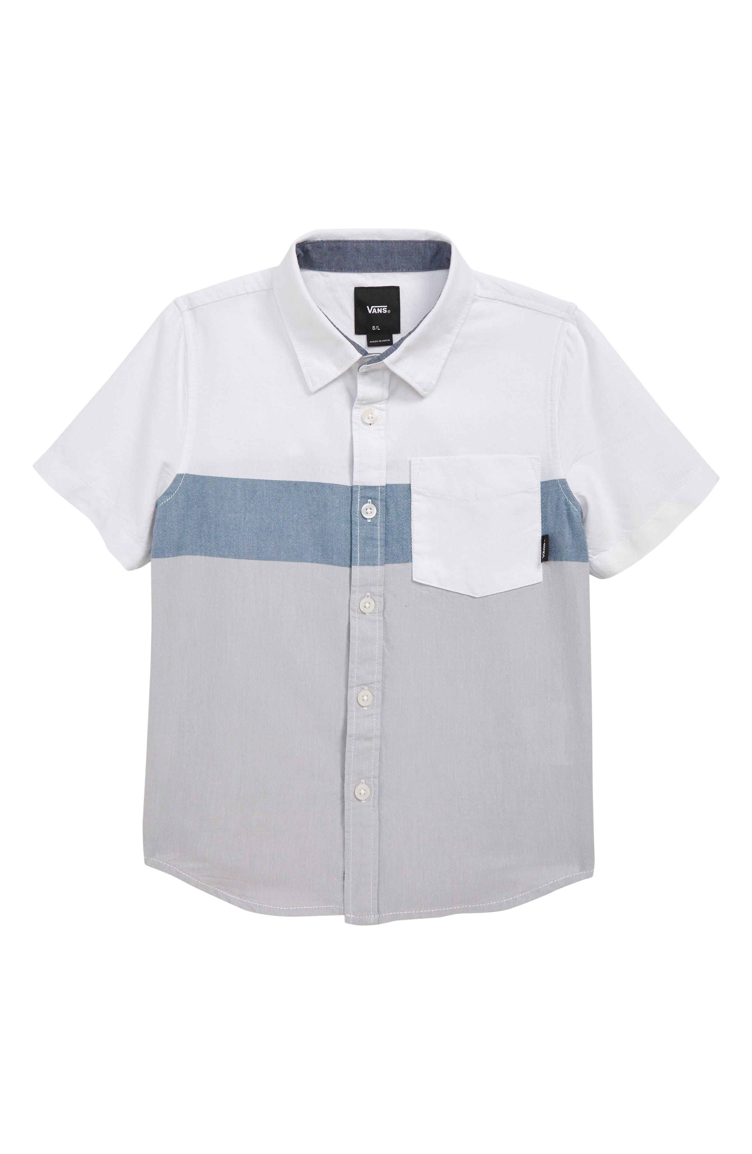 Estancia Woven Sport Shirt, Main, color, WHITE/ HIGH RISE