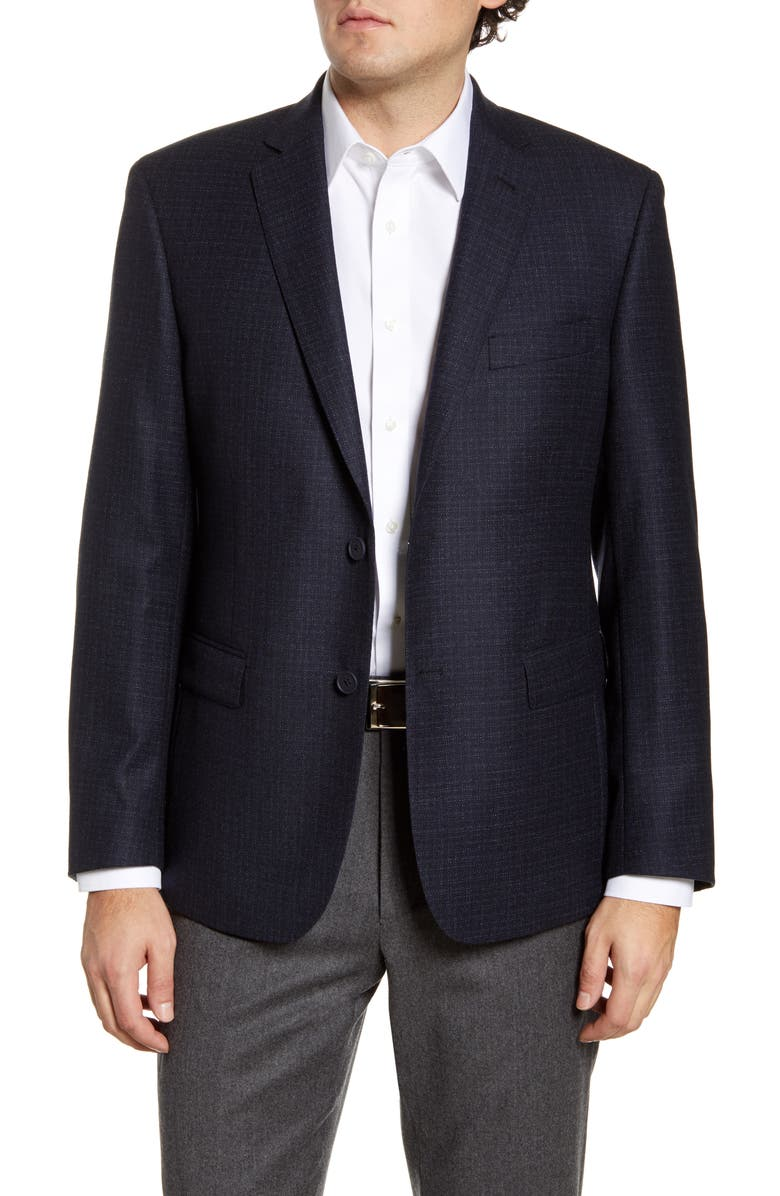 JOHN W. NORDSTROM<SUP>®</SUP> Classic Fit Check Wool Sport Coat, Main, color, NAVY NIGHT MICRO PATTERN