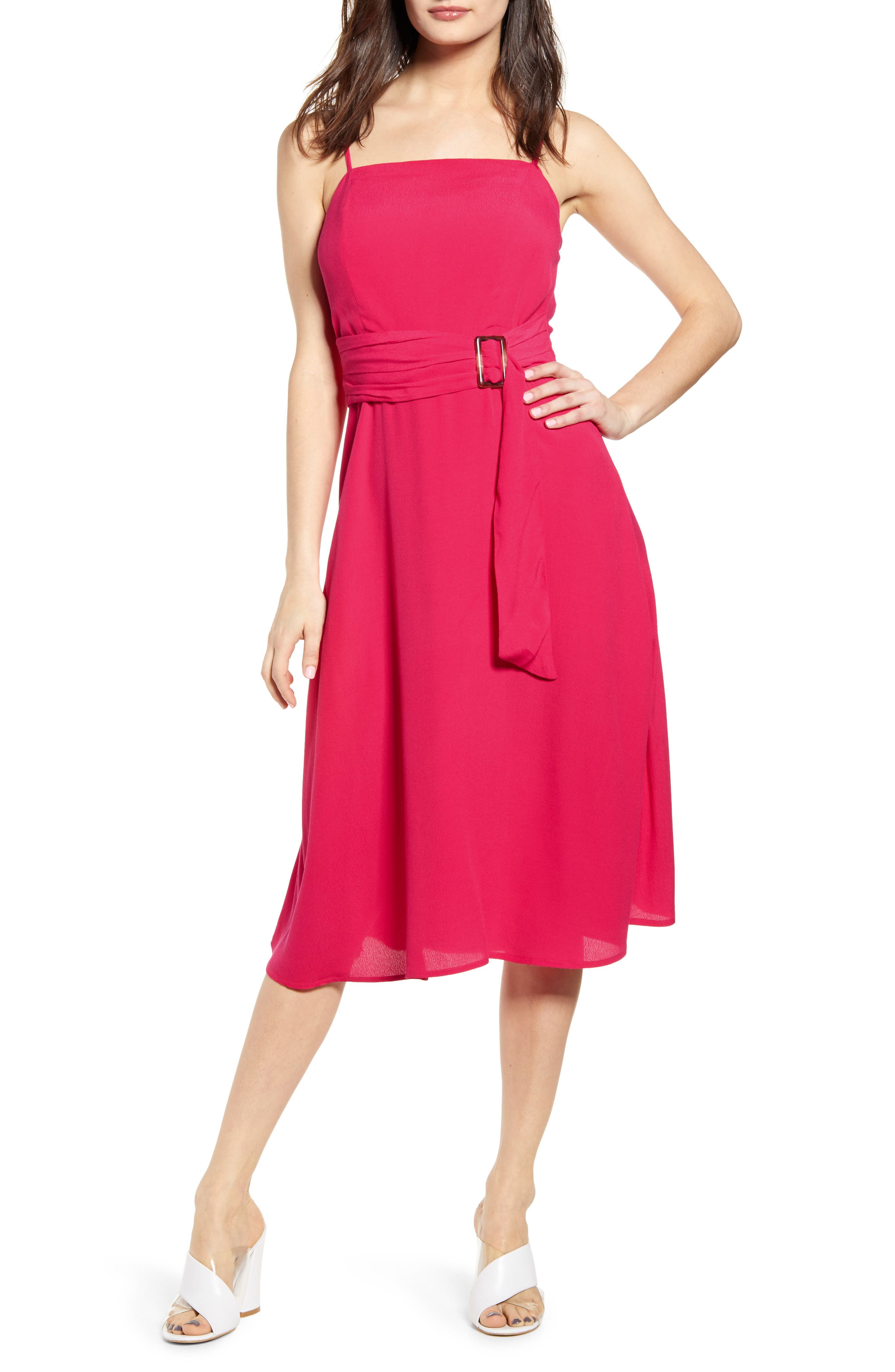 J.o.a. Belted Sleeveless Dress, Pink