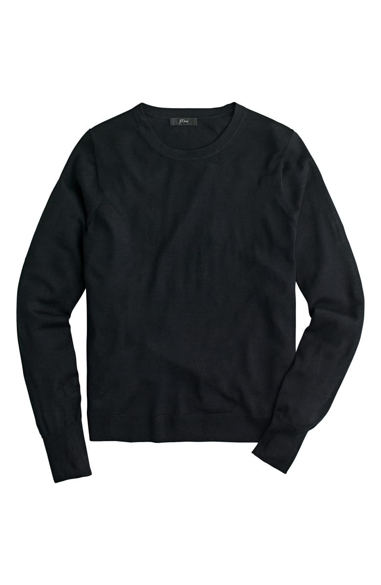 J.CREW Margot Crewneck Re-Imagined Wool Sweater, Main, color, BLACK
