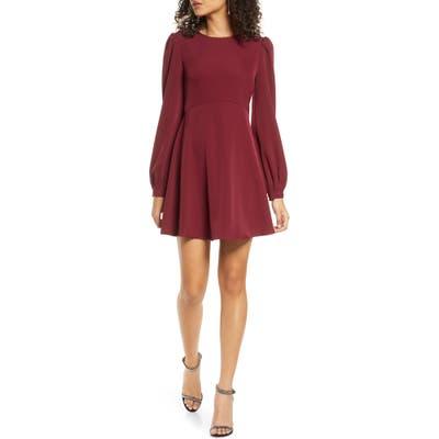 Lulus Follow Me Long Sleeve Minidress, Burgundy