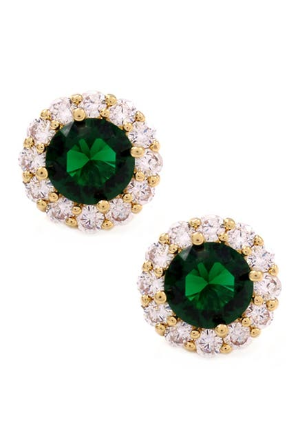 Image of Savvy Cie 18K Yellow Gold Plated Lab Created Emerald & CZ Halo Stud Earrings