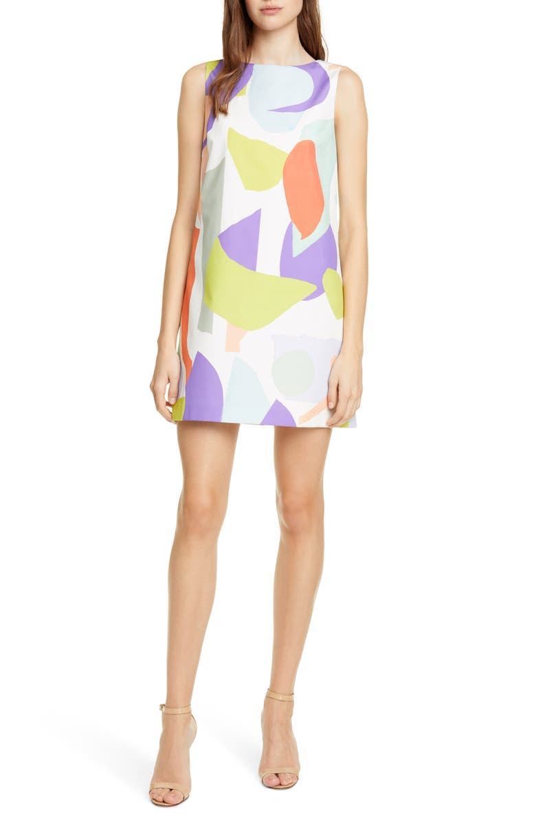 ALICE + OLIVIA Clyde Geo Collage Minidress, Main, color, 900