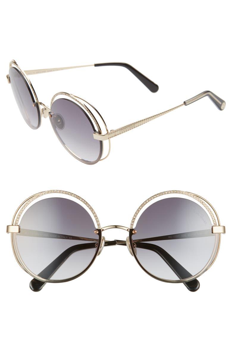 ROBERTO CAVALLI 60mm Crystal Detail Round Sunglasses, Main, color, GOLD/ GRADIENT SMOKE