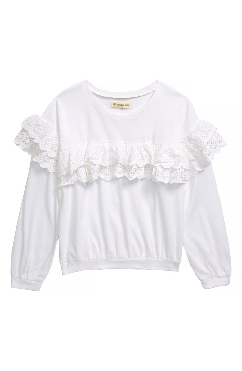 TUCKER + TATE Eyelet Ruffle Top, Main, color, WHITE