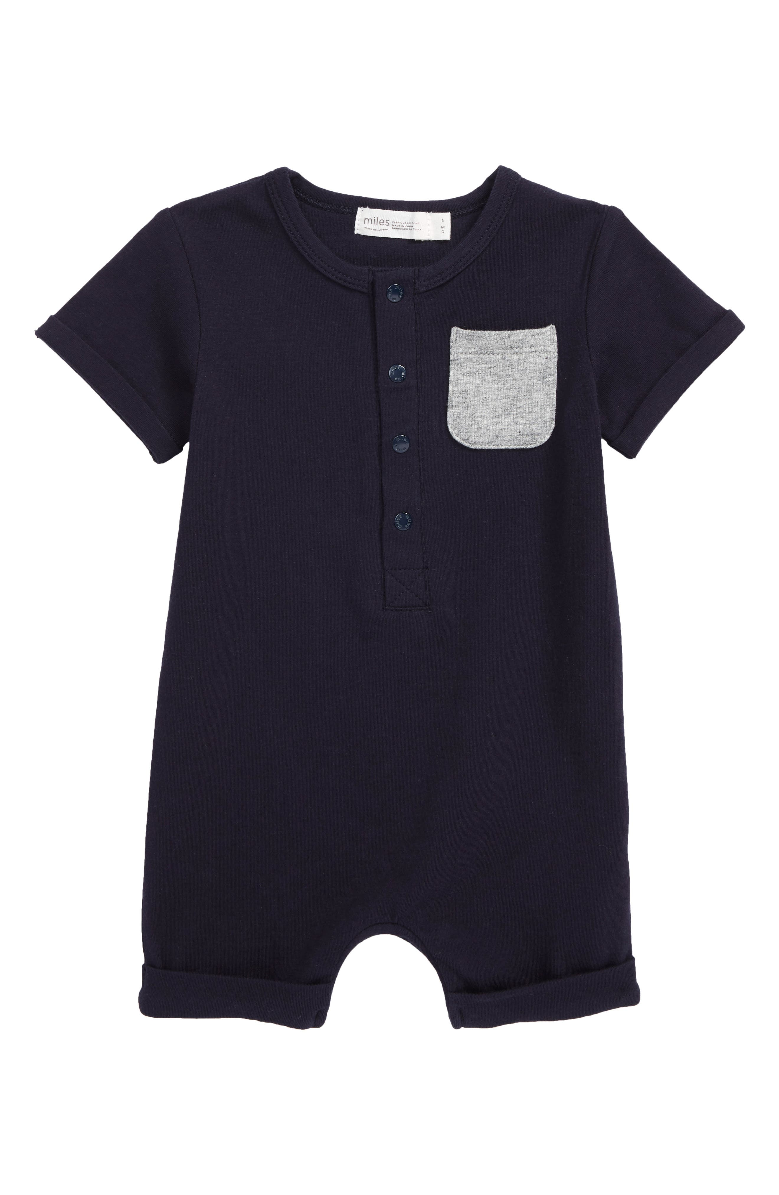 Made from soft stretch cotton, this romper with a contrast patch pocket at the chest is ready for playtime. Style Name: Miles Baby Pocket Romper (Baby). Style Number: 6019912. Available in stores.