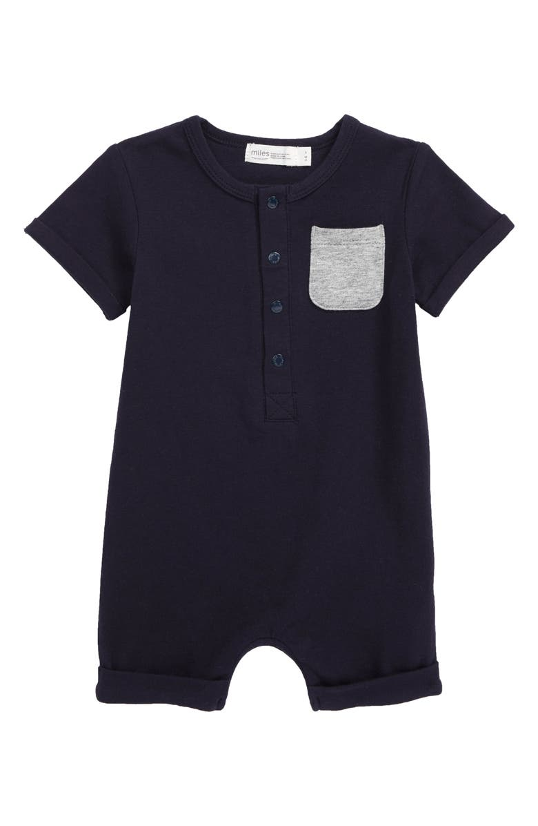 MILES baby Pocket Romper, Main, color, NAVY