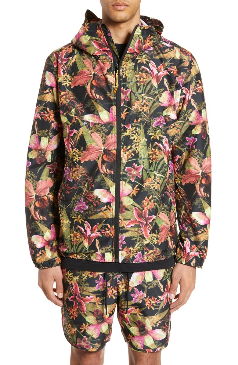 HERSCHEL SUPPLY CO. Voyage Windbreaker Jacket, Main, color, JUNGLE HOFFMAN
