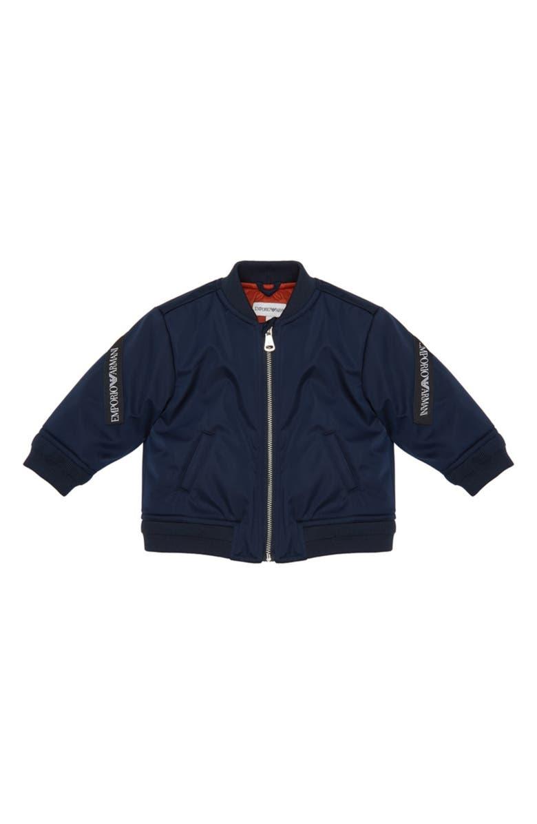 ARMANI JUNIOR Bomber Jacket, Main, color, BLUE