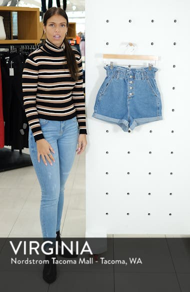 Paperbag High Waist Denim Shorts, sales video thumbnail