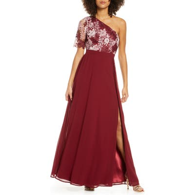 Chi Chi London Saffy One-Shoulder A-Line Gown, Burgundy