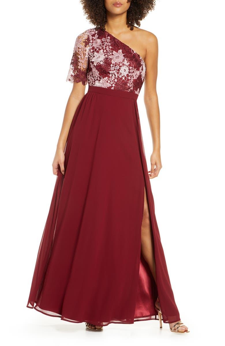 CHI CHI LONDON Saffy One-Shoulder A-Line Gown, Main, color, BURGUNDY