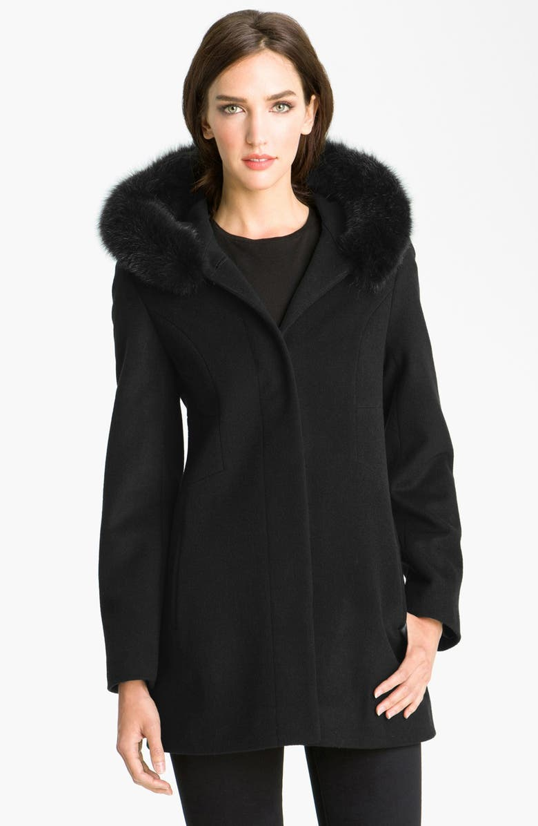 SACHI Genuine Fox Trim Hooded Coat, Main, color, 001