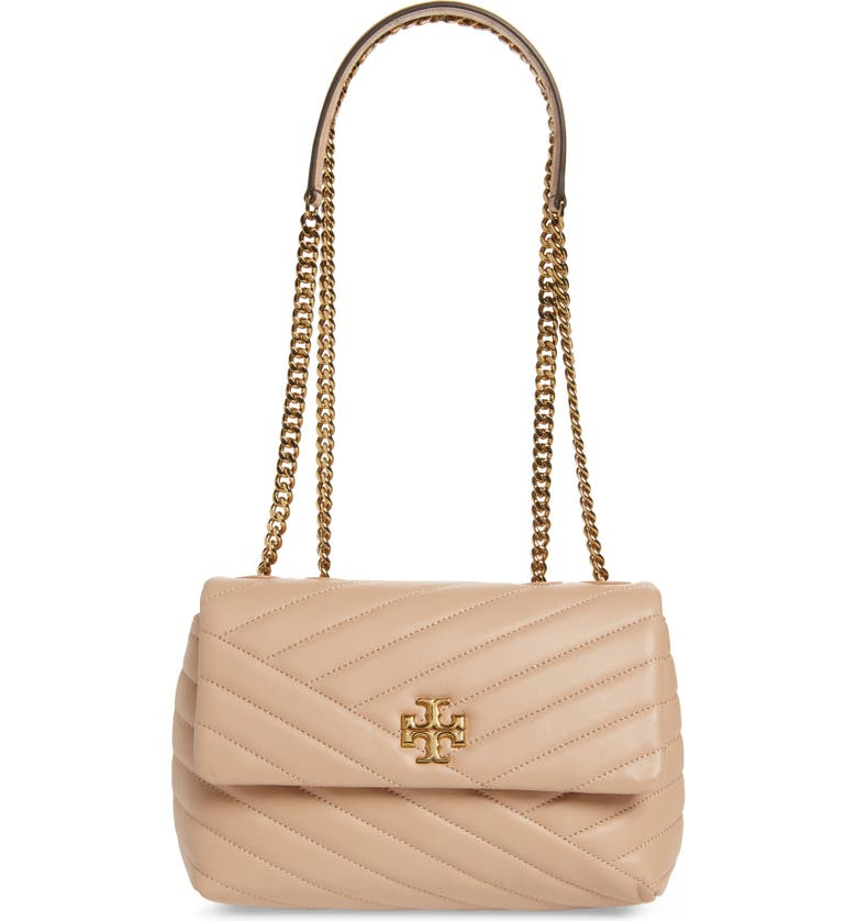TORY BURCH Kira Chevron Quilted Small Convertible Leather Crossbody Bag, Main, color, DEVON SAND