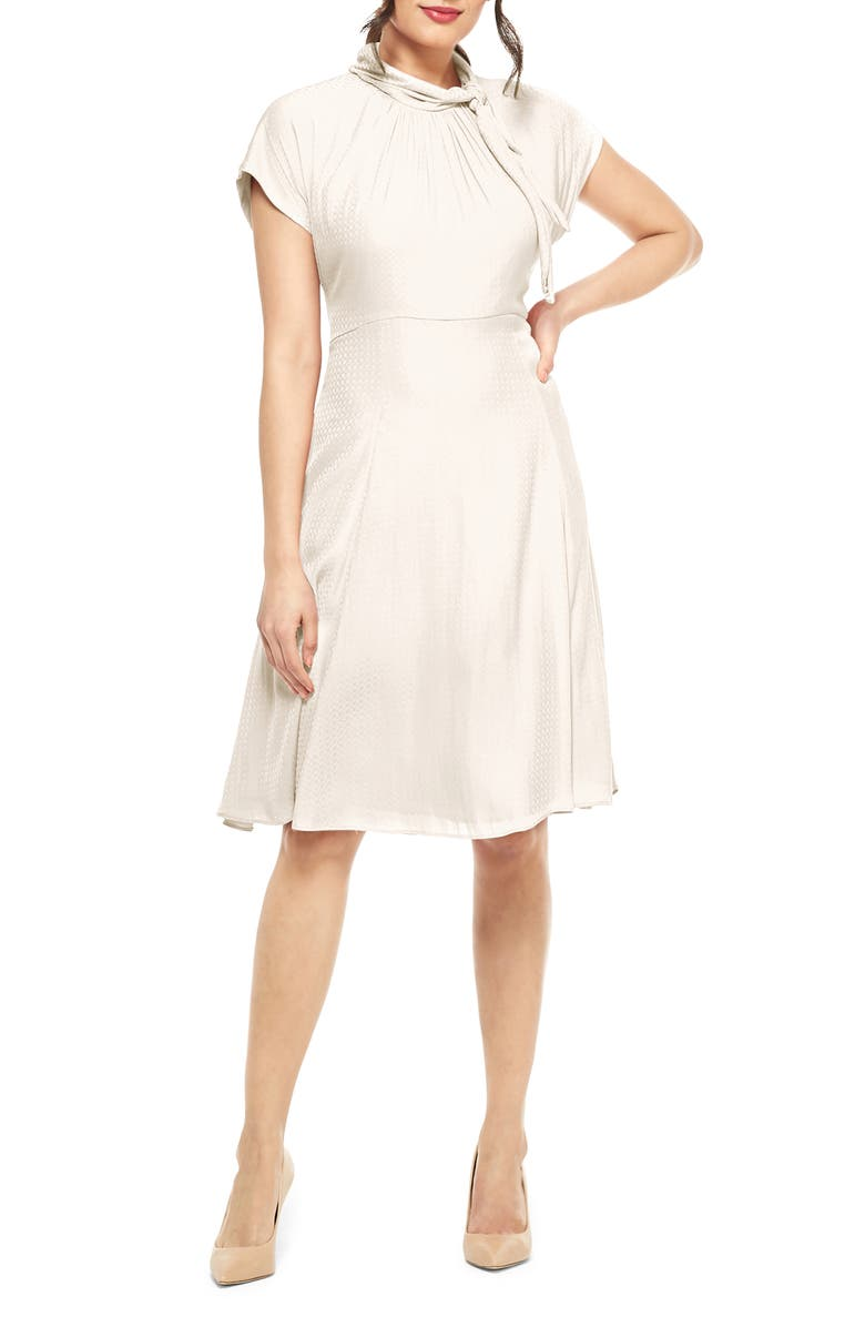 GAL MEETS GLAM COLLECTION Aimee Texture Checked Tie Neck Fit & Flare Dress, Main, color, CREAM