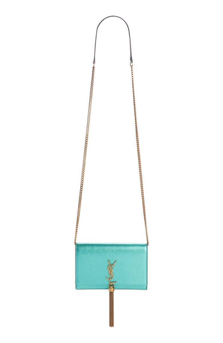 SAINT LAURENT Kate Leather Wallet on a Chain, Main, color, CHLOROPHYLLE