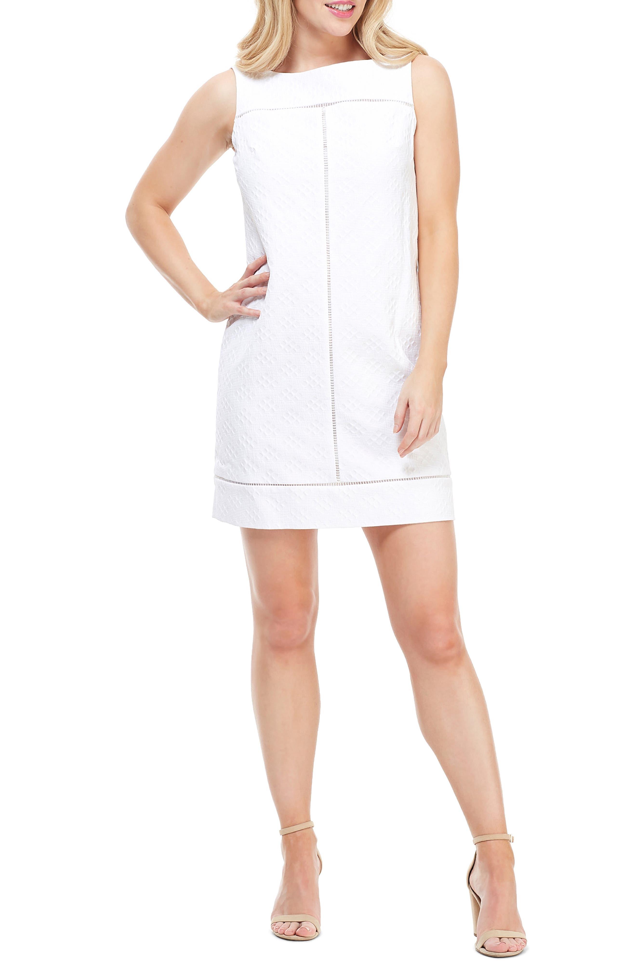 Maggy London Sleeveless Jacquard Dress, White