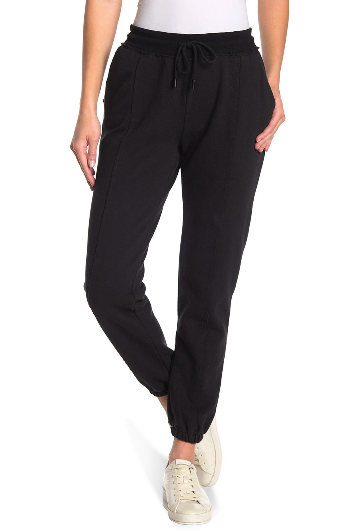 Nicole Miller Core French Terry Skinny Sweatpants In Black