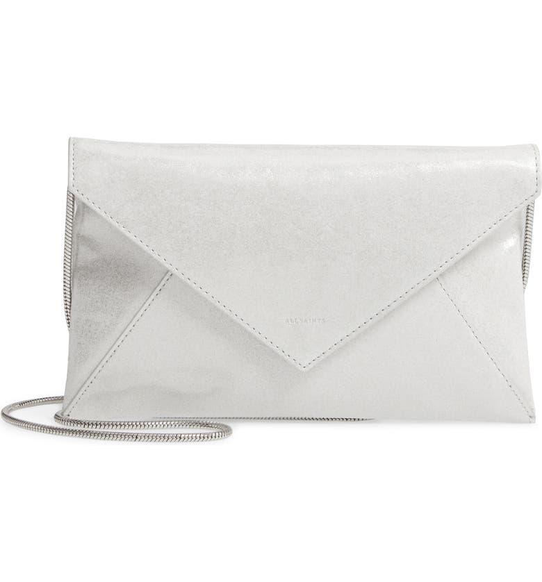 ALLSAINTS Glitz Leather Envelope Clutch, Main, color, 049