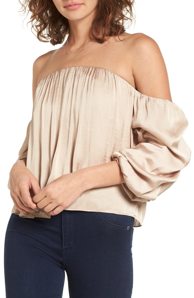 LEITH Gathered Satin Off-the-Shoulder Top, Main, color, 235