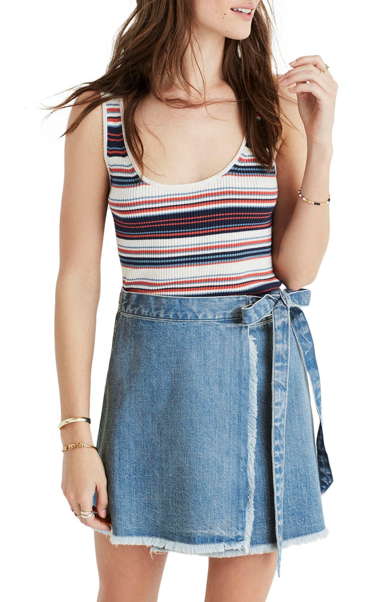 Raw Hem Wrap Denim Skirt, Main, color, 400