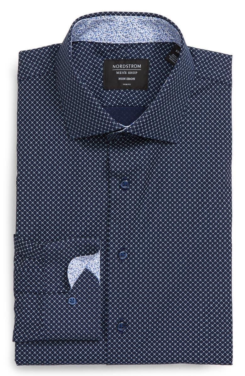 NORDSTROM MEN'S SHOP Trim Fit Non-Iron Geometric Dress Shirt, Main, color, NAVY MEDIEVAL