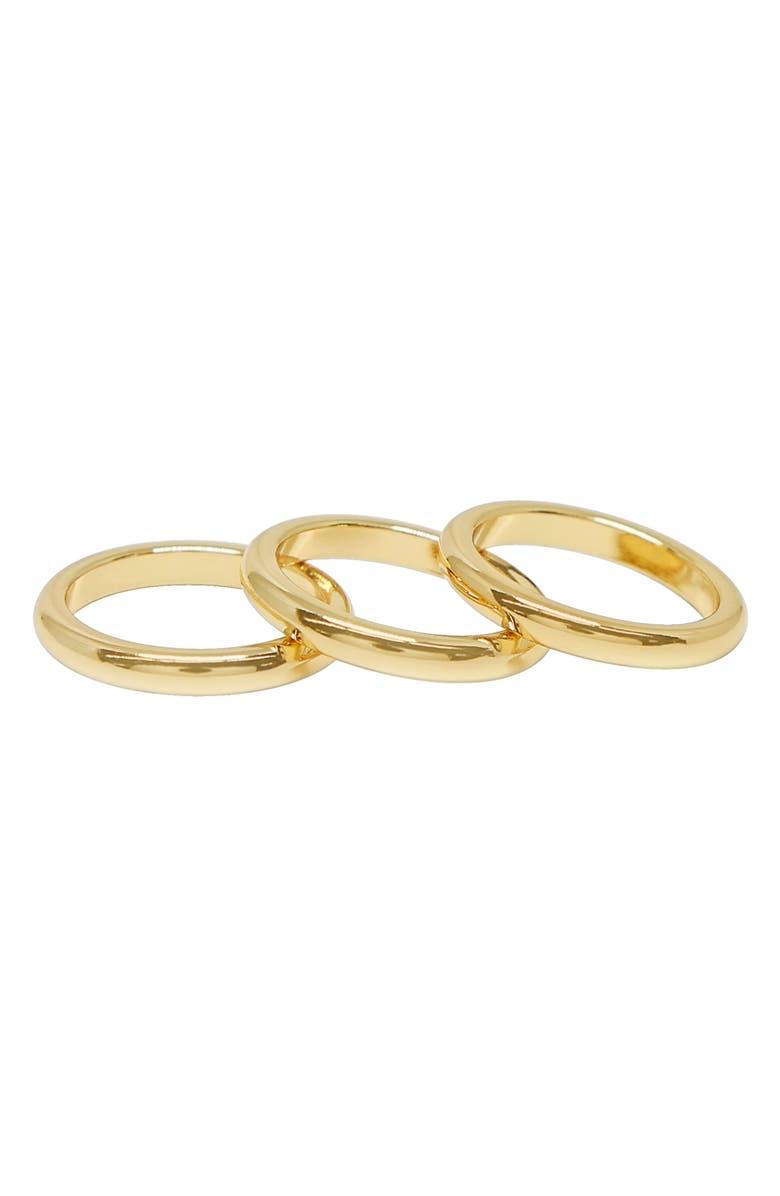 ETTIKA Set of 3 Band Rings, Main, color, Gold