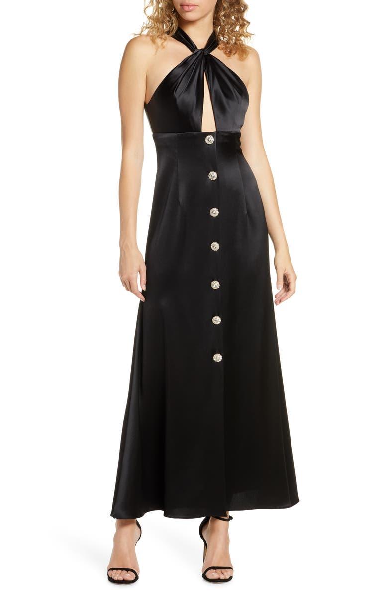 JILL JILL STUART Twisted Halter Button Front Gown, Main, color, 001