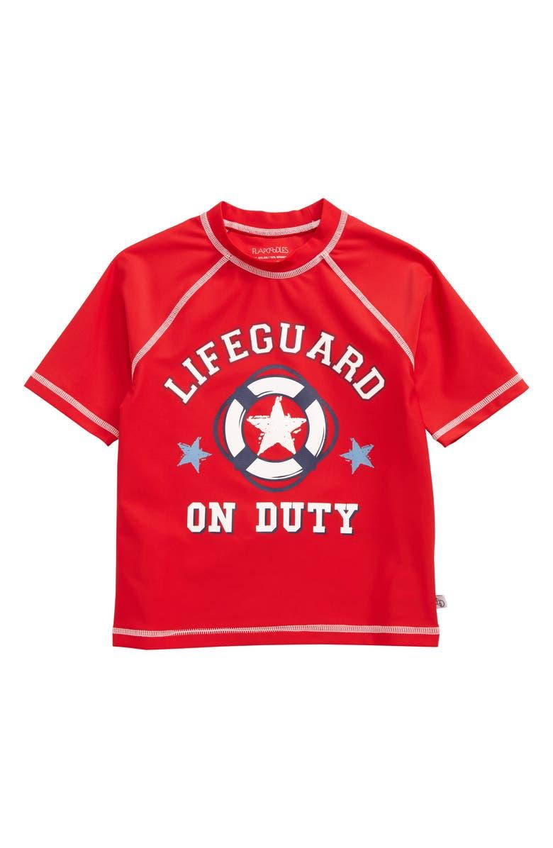 FLAPDOODLES Lifeguard Rashguard, Main, color, RED