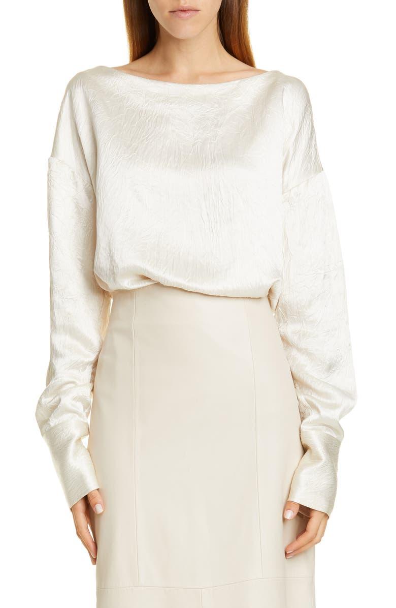 CO Crinkle Long Sleeve Blouse, Main, color, IVORY