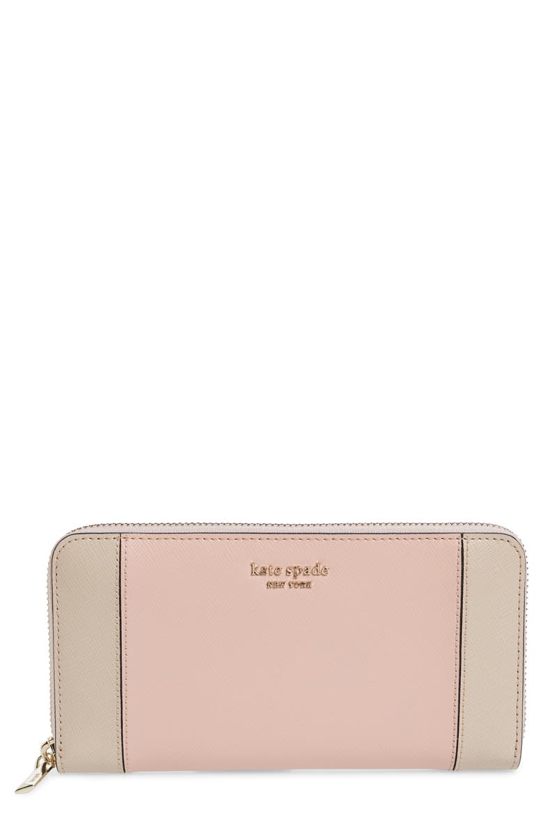 KATE SPADE NEW YORK spencer zip around leather continental wallet, Main, color, 250