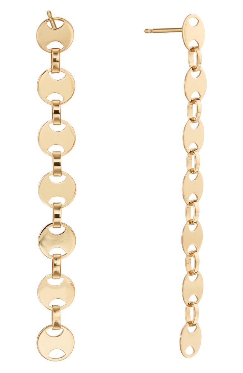 LANA JEWELRY Small Rodeo Chain Linear Earrings, Main, color, YELLOW GOLD
