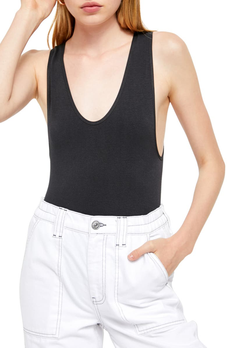 BDG URBAN OUTFITTERS Markie Bodysuit, Main, color, BLACK