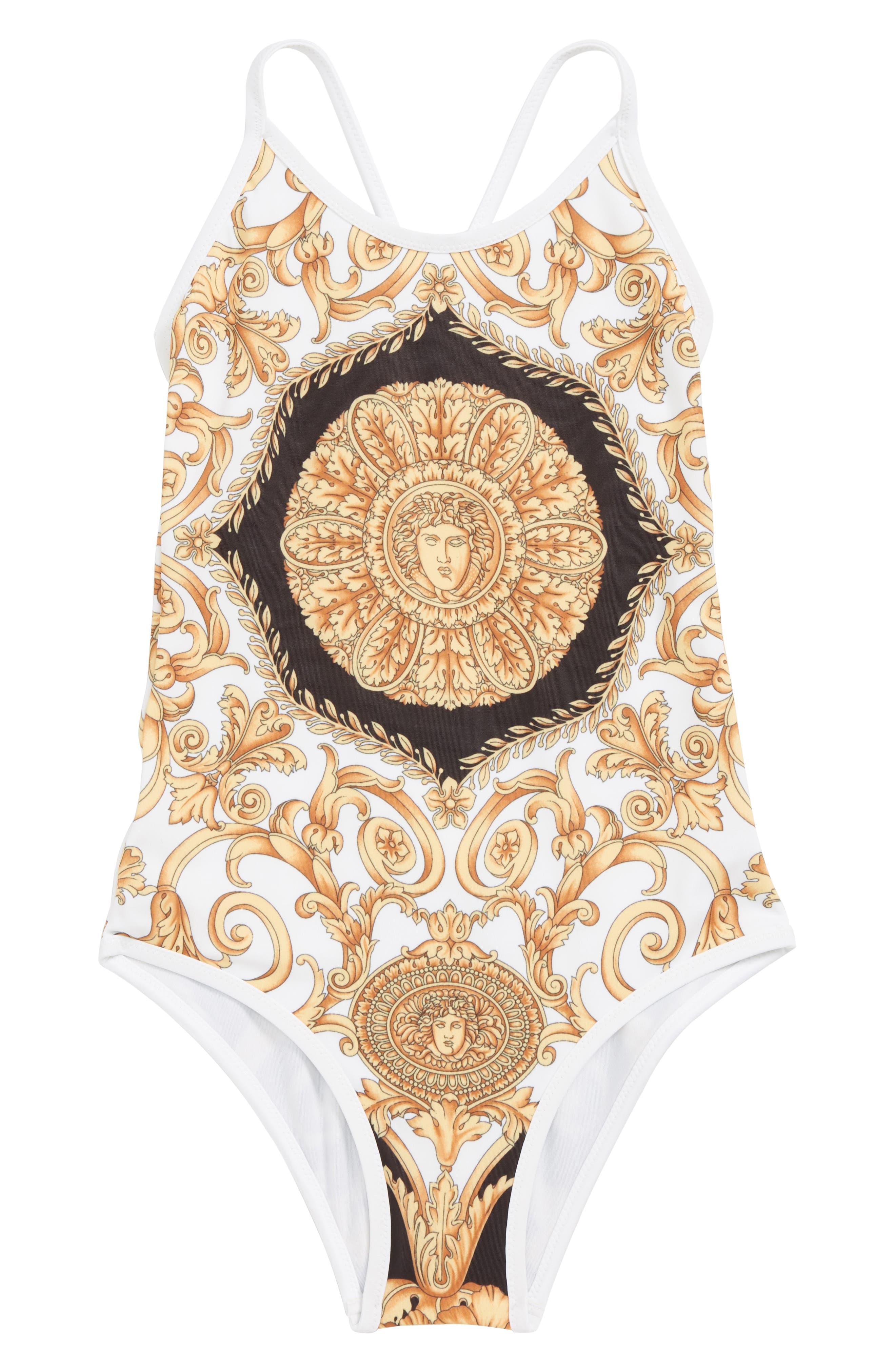 Medusa One-Piece Swimsuit, Main, color, 4926 BLK/ GLD/ WT