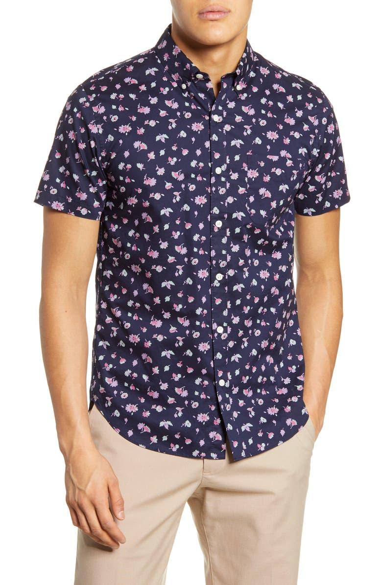 BONOBOS Riviera Slim Fit Floral Short Sleeve Button-Down Shirt, Main, color, TOMAR FLORAL BLISS AQUA
