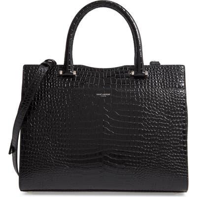 Saint Laurent Medium Cabas Uptown Croc Embossed Leather Satchel - Black