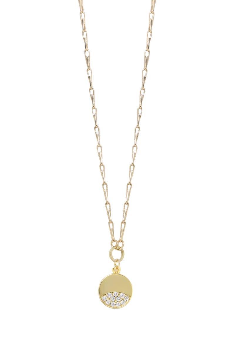 ETTIKA Crystal Disc Pendant Necklace, Main, color, GOLD