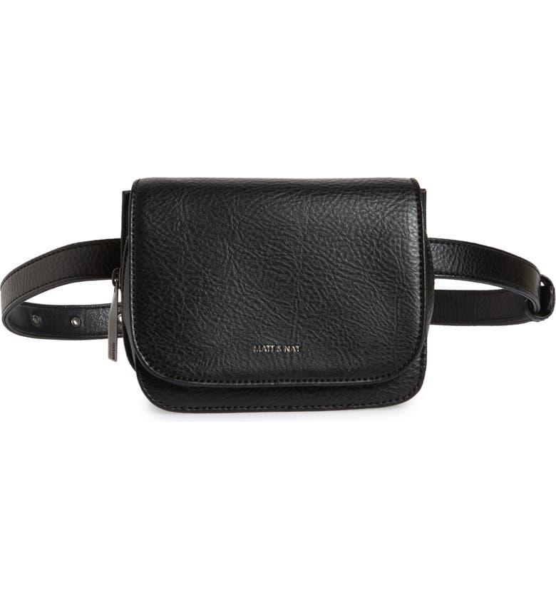 MATT & NAT Park Faux Leather Belt Bag, Main, color, BLACK
