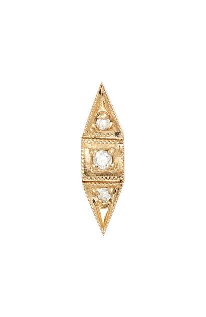 Jennie Kwon Designs Deco Point Diamond Single Stud Earring In Yellow Gold/ Diamond/ Pearl