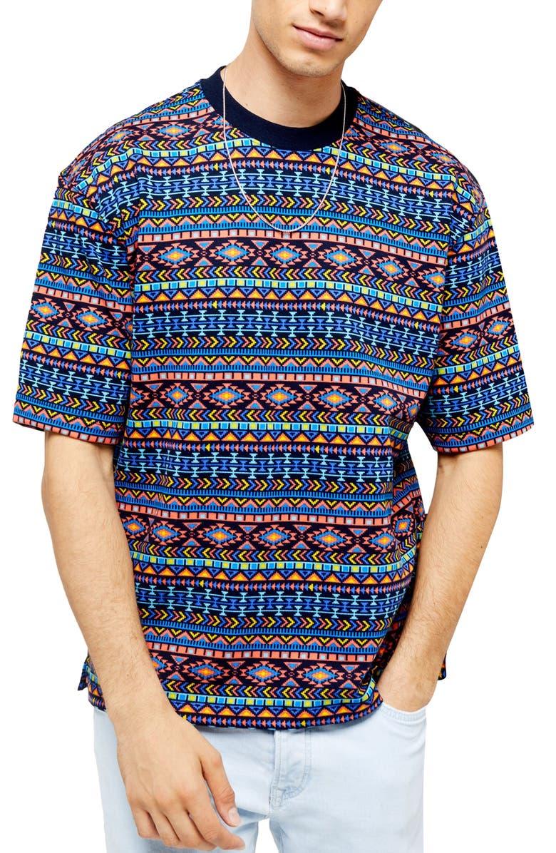 TOPMAN Vibrant Print T-Shirt, Main, color, PURPLE MULTI