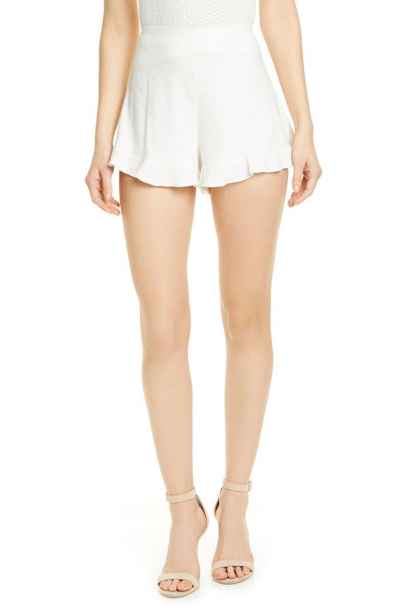 ALICE + OLIVIA London Linen Blend Ruffle Shorts, Main, color, 900