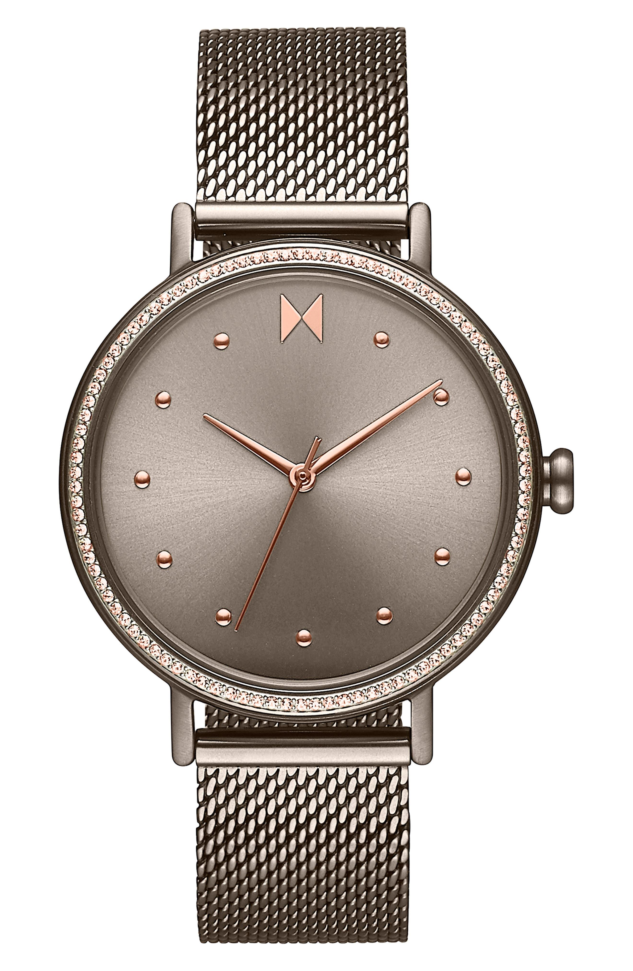 Crystal Dot Mesh Strap Watch