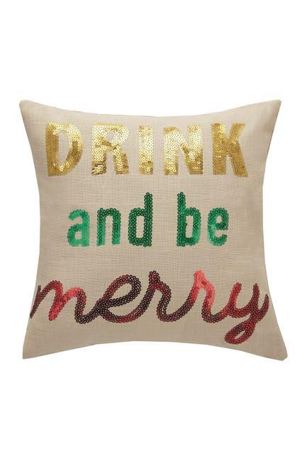 Image of Peking Handicraft Multi Drink & Be Merry Sequin Pillow