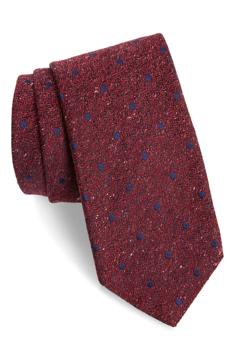 CANALI Dot Silk & Wool Tie, Main, color, BLUE