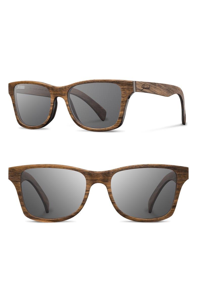 SHWOOD 'Canby' 54mm Polarized Wood Sunglasses, Main, color, WALNUT/ GREY