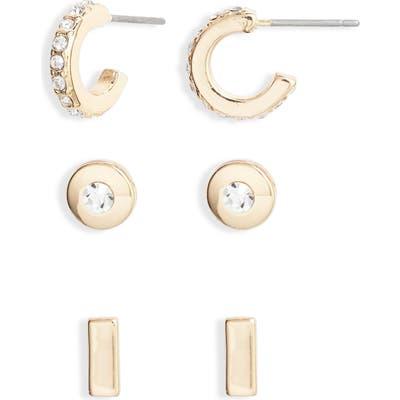 Halogen Set Of 3 Stud & Huggie Earrings