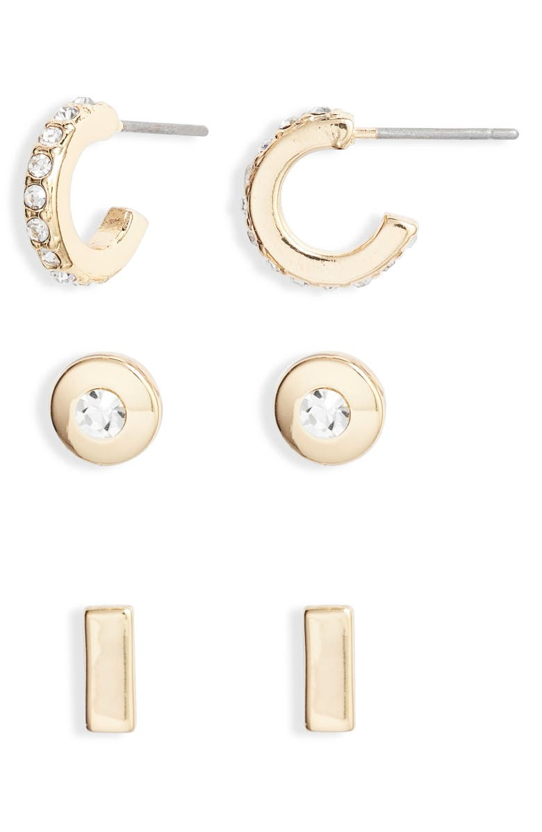 Halogen Set Of 3 Stud Huggie Earrings