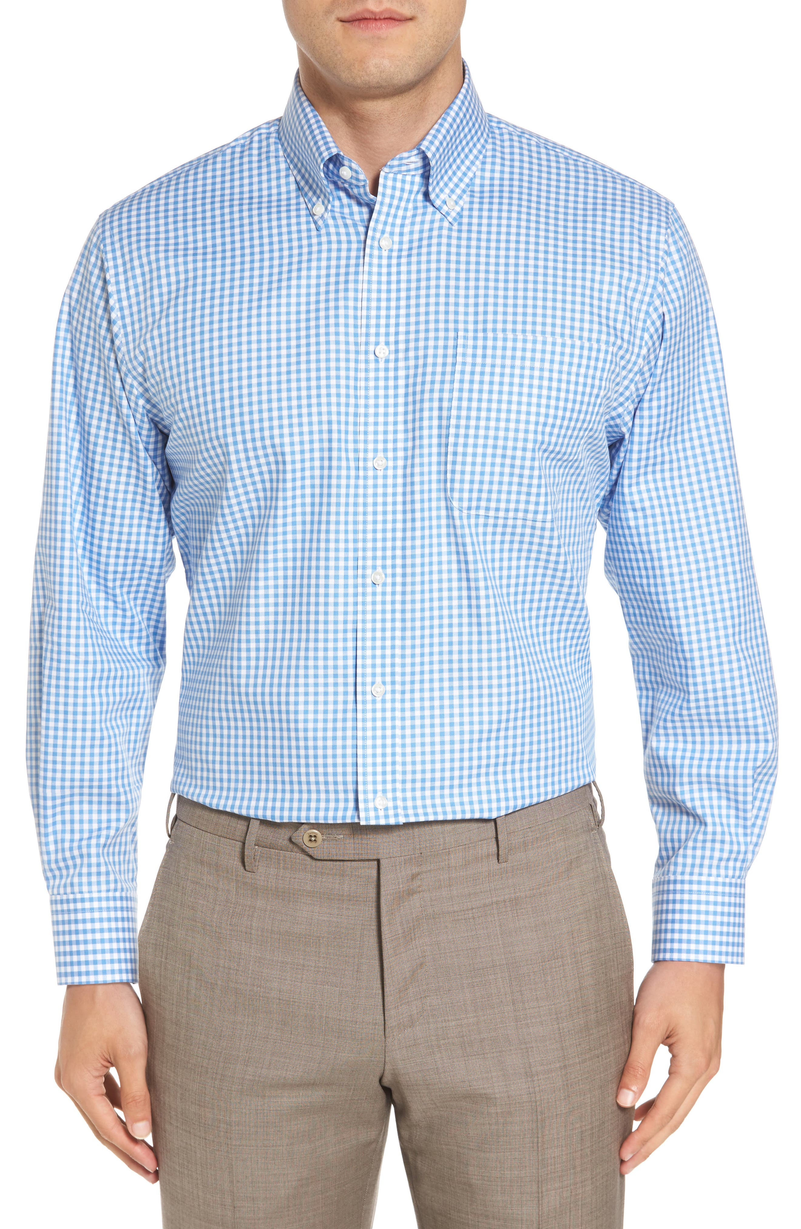,                             Traditional Fit Non-Iron Gingham Dress Shirt,                             Main thumbnail 13, color,                             450